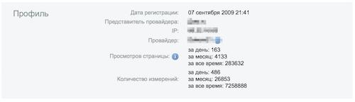 Статистика аккаунта интернет провайдера