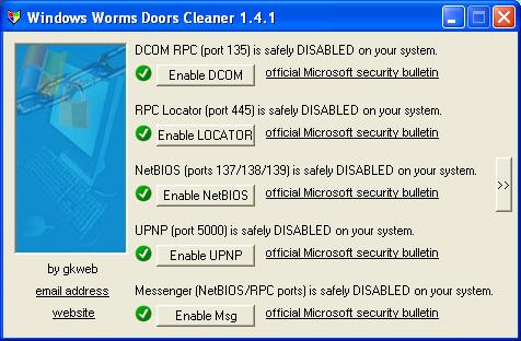 как закрыть TCP-порты 1024–1035, 135 и 445